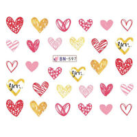 Nail Art Water Decals Stickers Transfers VALENTINES Day Love Hearts BN597
