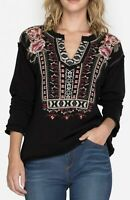 JOHNNY WAS Embroidered Issoria Popover Cotton Sweatshirt Black Plus Size 1X