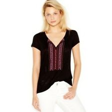 Sanctuary Clothing Women's Black Boho Embroidered Tassel Blouse Tee Top Small S