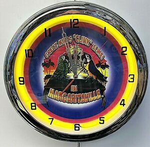 "16"" Margaritaville Great Minds Clink Alike Yellow Neon Wall Clock Garage ManCave"