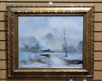 VINTAGE ORIGINAL OIL PAINTING SIGNED BY ARTIST ENGEL WINTER LANDSCAPE