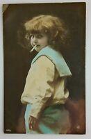 Child Smoking Colored Postcard Real Photo RPPC 1906 Comic Sailor Suit