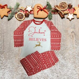 Personalised I believe Red Glitter Printed Pyjamas choice of 3 Designs age 3-10