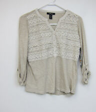 Style&Co Petite Crochet Front Top - Womens PS Petite Small - NWT