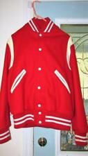 AUTHENTIC 1960s SCHOOL STADIUM LETTERMAN JACKET RED WOOL WHITE LEATHER JACKET