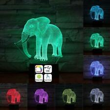 Elephant 3D illusion LED Night Light  Color Touch Table Desk Lamp Mood Room