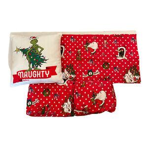 Pottery Barn PB Teen Grinch Dr Seuss Twin Size Flannel Sheet Set Bonus Pillow
