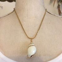Vintage natural tulip shell pendant on chain