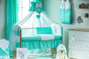 Babybett Tany mit 10-tlg Komplett-Set Bettwäsche Matratze Himmel Minze Farbe Neu