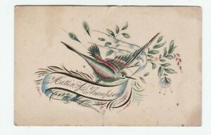 SUPER  American Folk Art Drawing - Bird Calligraphy Penmanship Color 1870 Signed