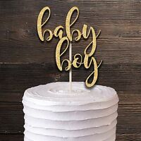 BABY BOY GOLD GLITTER BABY SHOWER CHRISTENING PARTY CAKE TOPPER DECORATION