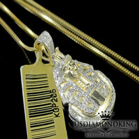 Real Genuine 100% 10k Yellow Gold .40ct Diamond Pharaoh Charm Necklace Chain New
