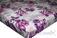 Pink Purple New Vintage Roses PVC Tablecloth Vinyl Oilcloth Kitchen Dining Table