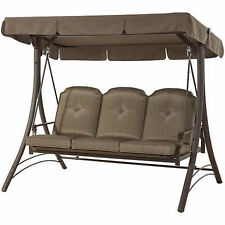 ... Patio Swing With Canopy 3 Person Padded Seats Outdoor Furniture  Backyard Brown