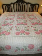 Handmade=Quilted=Embroide red=Queen=Pink Flowers=Absolutely Beautful=Unused