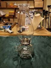 Vintage Lamplight Hobnail Clear Hand Hole Oil Lamp with Beaded Chimney