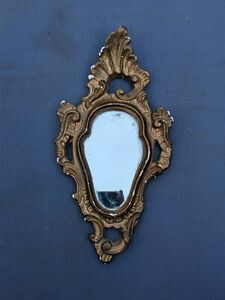 1880s small plaster gold ormulu rococo moulded miniature wall hanging mirror
