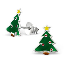 Childrens Ladies Sterling Silver Christmas Tree Stud Earrings 925 Santa Boxed