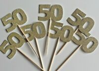 Cup Cake Toppers 50th Birthday, Anniversary Gold Glitter Pack of 12
