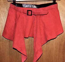CHLOE Vintage Suede Leather Peplum Skirt Belt Silver Buckle Red Orange VTG XS S