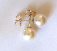 NEW Genuine Solid 9ct 9k Yellow Gold Freshwater Cultured Pearl 8mm Earring Studs