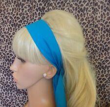 Plain bleu turquoise tissu de coton foulard cheveux bande Self Tie Bow 50s 60s