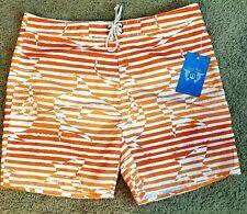 Strong Boalt Mens Surf Beach Boardshorts Orange Sharks and Stripes Size 38 XL