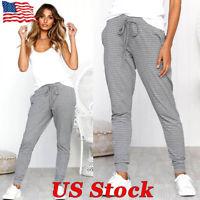 US Womens Sweatpants Casual Jogger Dance Harem Pants Sports Baggy Slacks Trouser