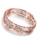 New 18K Rose Gold Filled Filigree Flower Crystal Bracelet Bangle VINTAGE Look