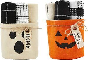 Mud Pie H1 Home Halloween Set of 3 Towels and Basket - Choose Design