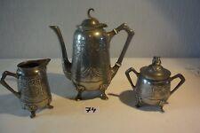 C74 Ensemble Theière pot au lait sucrier ART NOUVEAU GERHARDI § CO SILVER 1769