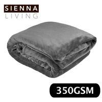 Sienna Living Super Plush Flannel 350GSM Blanket Queen King 220x240 Dark Grey