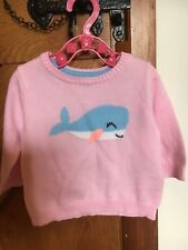 Baby pretty pink top jumper blue whale long sleeve 3 month 100% cotton