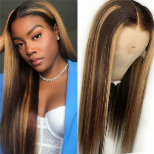 Fashion Ombre Brown Human Hair Wigs Brazilian Full  Long Straight Front Wig