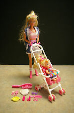 1995 MATTEL 'STROLLIN' BARBIE & KELLY DOLL WITH ACCESSORIES