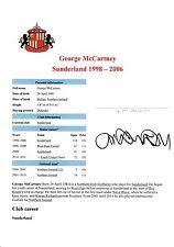 GEORGE McCARTNEY SUNDERLAND 1998-2006 & 2008-2012 ORIGINAL SIGNED CUTTING/CARD