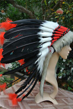 21inch Black indian feather headdress indian warbonnet american costumes