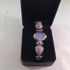 Aria Gemstone Purple Amethyst Silvertone Adjustable Link Watch NEW with box