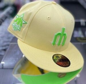 7 1/2 Seattle Mariners Tropical Pro Image Fitted Hat Neon UV ProImageSports