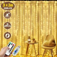 100/300 LED Curtain Fairy Lights USB String Hanging Wall Lights w/Remote Decor