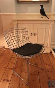 x1 Stunning Genuine Knoll Studio Bertoia Side Chair+Leather Seat Pad Rrp £1220