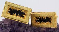 Herren Vintage 1960s Christian Dior Electric Gold Tone & Schwarz Onyx Manschettenknöpfe Sof