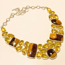 GENUINE YELLOW MOOKAITE JEWELRY CHRISTMAS GIFT 925 SILVER OVERLAY NECKLACE
