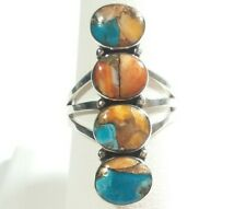 925 STERLING SILVER ELONGATED FOUR STONES SPINY OYSTER TURQUOISE SIZE 8 RING