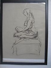 Figure drawing nude, expressive charcoal / paper, woman sitting 2, < A1 size @