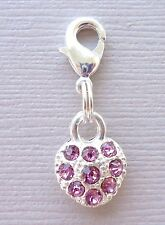 Pink Crystal Clip On Charm Lobster Claw Fit for Link Chain floating locket c35