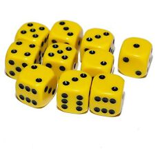 10 Yellow Dice, (six sided), 16mm , D6