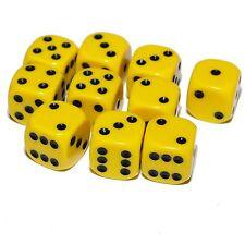 10 jaune dés, (six faces), 16mm, D6