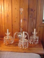 Beautiful Pair of Cut Crystal 3 Light Chandelier Wall Sconces (2) w/STAR
