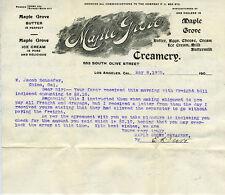 1905 Letterhead for the Maple Grove Creamery Los Angeles CA